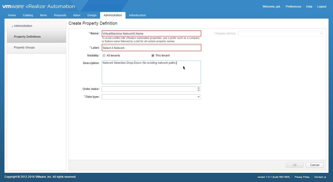 Adding a network selection drop down in vra 7 virtualjad malvernweather Choice Image